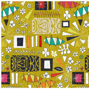 tiki yellow tea towel
