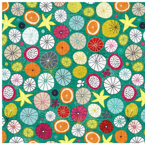 umbrellas jade tea towel