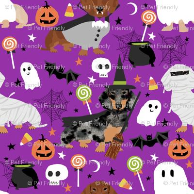 dachshund halloween fabric dog dogs fabric doxie halloween spooky ghost fabric - purple