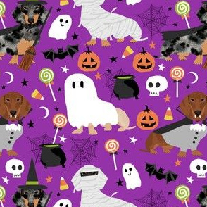 dachshund halloween fabric dog dogs fabric doxie halloween spooky ghost fabric - purple