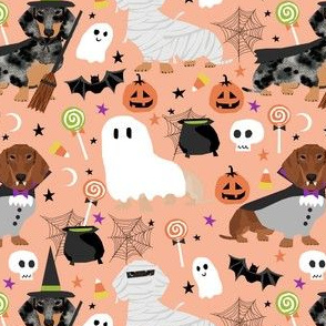 dachshund halloween fabric dog dogs fabric doxie halloween spooky ghost fabric - light orange