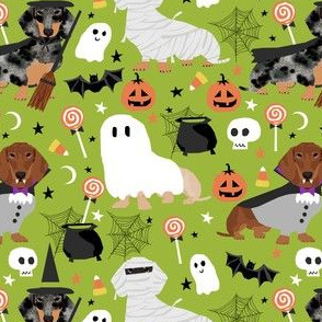 dachshund halloween fabric dog dogs fabric doxie halloween spooky ghost fabric - lime green