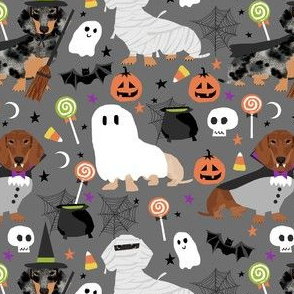 dachshund halloween fabric dog dogs fabric doxie halloween spooky ghost fabric - charcoal