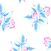 Ferns & Parrot Tulips - Blue/Pink