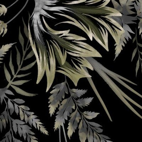 Ferns & Parrot Tulips - Black - Large Scale