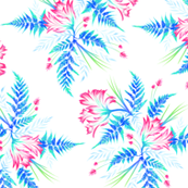 Ferns & Parrot Tulips - White/Blue/Pink