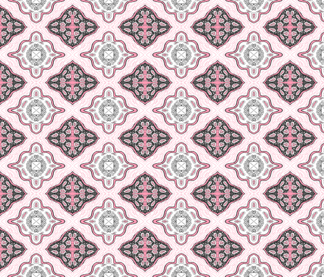 Medallion Waves- Pink fabric by essieofwho on Spoonflower - custom fabric