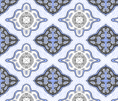 Medallion Waves- Blue fabric by essieofwho on Spoonflower - custom fabric