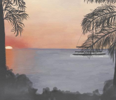 Aloha_ Hawaii sunset fabric by doodleandcharm_ on Spoonflower - custom fabric
