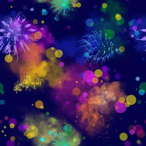 rainbow fireworks dark