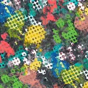 Grunge Dots Watercolor Paint Splatter Multi Colour