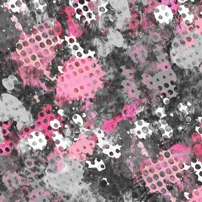 Grunge Dots Watercolor Paint Splatter Black& White Grey Pink
