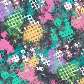 Grunge Dots Watercolor Paint Splatter Rainbow
