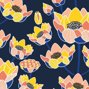 Lotus Blossom Ogee Navy