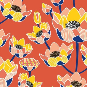 Lotus Blossom Ogee Rouge