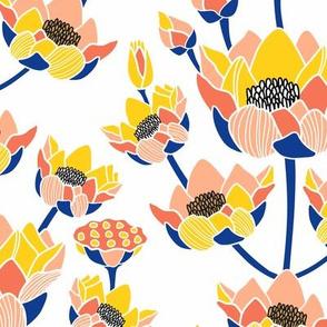 Lotus Blossom Ogee Blue & White