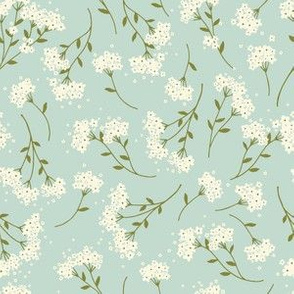 Floral Sprigs in mint a whimsical happy flower print
