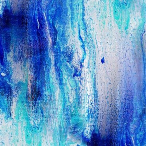 Blue drips on canvas