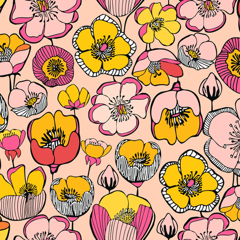 FIELD_FLOWERS_PINK_2a-01_SF150 fabric by kirstenkatz on Spoonflower - custom fabric