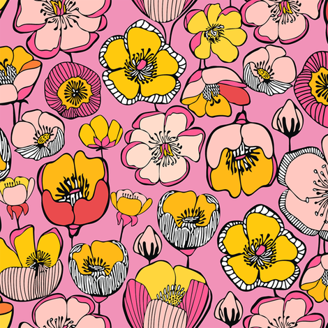 FIELD_FLOWERS_PINK_5b-SF150 fabric by kirstenkatz on Spoonflower - custom fabric