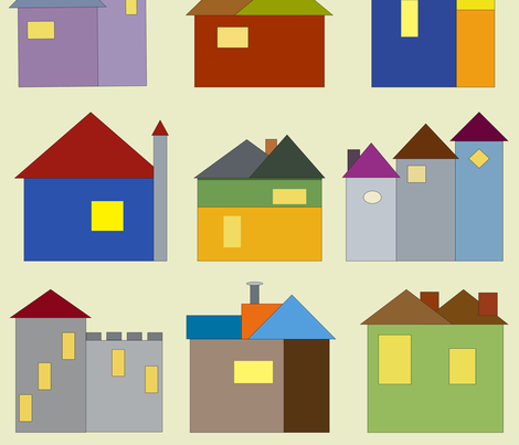 Storybook Houses Print fabric by sleepingdogquilts on Spoonflower - custom fabric