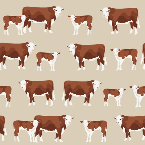 hereford cattle and calf fabric farm fabrics - sand fabric by petfriendly on Spoonflower - custom fabric