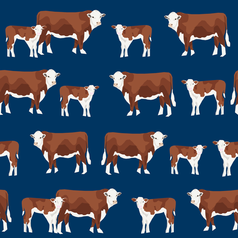 hereford cattle and calf fabric farm fabrics - navy fabric by petfriendly on Spoonflower - custom fabric