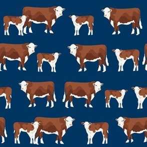 hereford cattle and calf fabric farm fabrics - navy