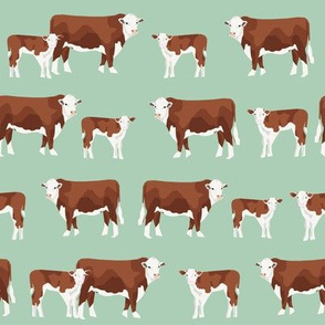 hereford cattle and calf fabric farm fabrics - mint