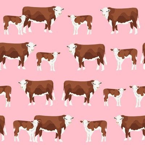 hereford cattle and calf fabric farm fabrics - pink