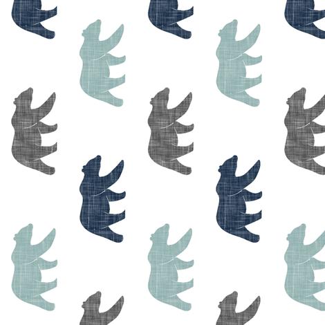 multi bear (small scale) || navy, dusty blue, and grey (90) fabric by littlearrowdesign on Spoonflower - custom fabric