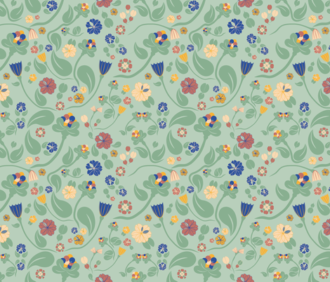 scandinavian paisley green fabric by arrpdesign on Spoonflower - custom fabric