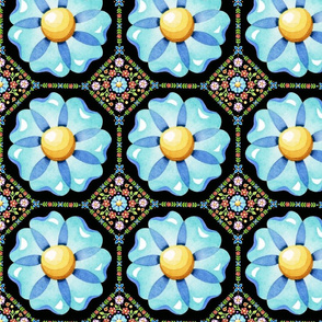 Blue Daisy Boho on black