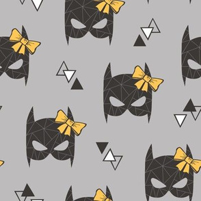 Girly Geometric Bat Mask with Yellow Bow on Grey