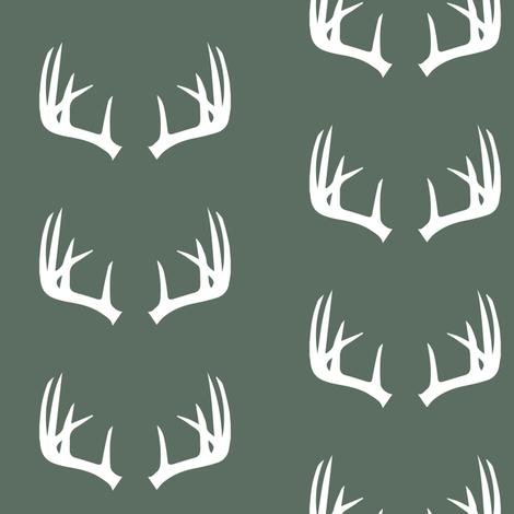 antlers on dark sage fabric by littlearrowdesign on Spoonflower - custom fabric