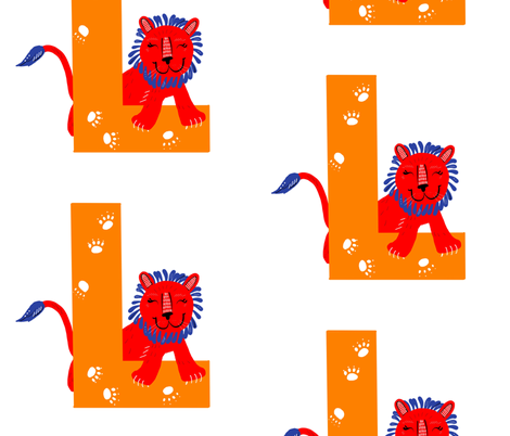 L is for Lion fabric by taraput on Spoonflower - custom fabric