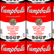 parody satire jokes gags andy warhol inspired campballs campbell's soup inspired vegetarian condensed vegan chicken soup cans pop art vintage retro organic non-gmo free range sustainable