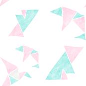 Origami pink and aquamarine