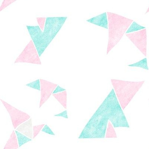 Origami pink and aquamarine