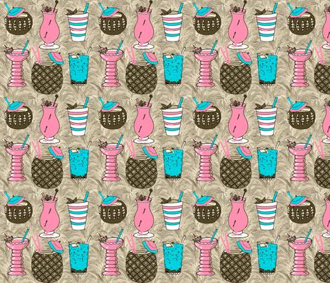 tiki_drinks_sepia_1 fabric by leroyj on Spoonflower - custom fabric