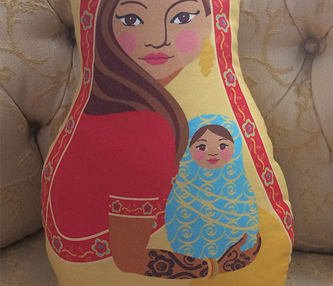 Indian Mother and Baby, Doll Pillow, Red and Blue, Cut and Sew
