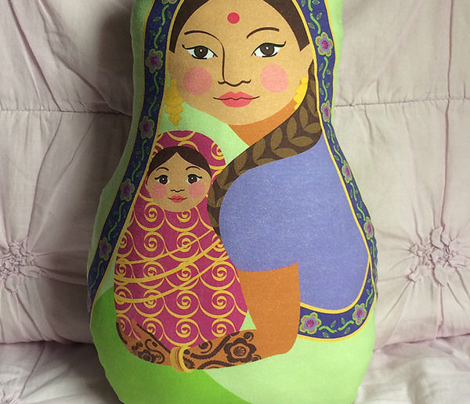 Indian Mother and Baby, Doll Pillow, Purple and Pink, Cut and Sew