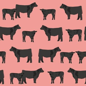 black angus fabric cattle and cow fabric cow design - peach