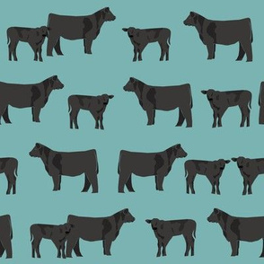 black angus fabric cattle and cow fabric cow design - blue