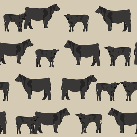 black angus fabric cattle and cow fabric cow design - sand fabric by petfriendly on Spoonflower - custom fabric