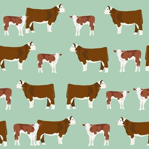 hereford cattle and cow fabric - mint