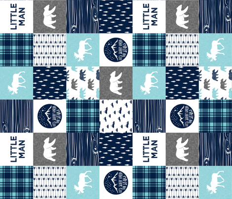 Little man & Happy Camper patchwork wholecloth || navy and teal  (90) fabric by littlearrowdesign on Spoonflower - custom fabric