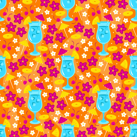 Tropical Delight (Orange) fabric by robyriker on Spoonflower - custom fabric