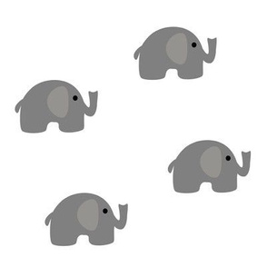 Gray Elephants on White