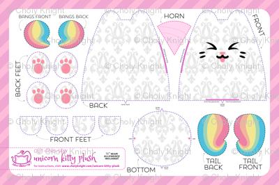 Cut & Sew Rainbow Unicorn Kitty Plush